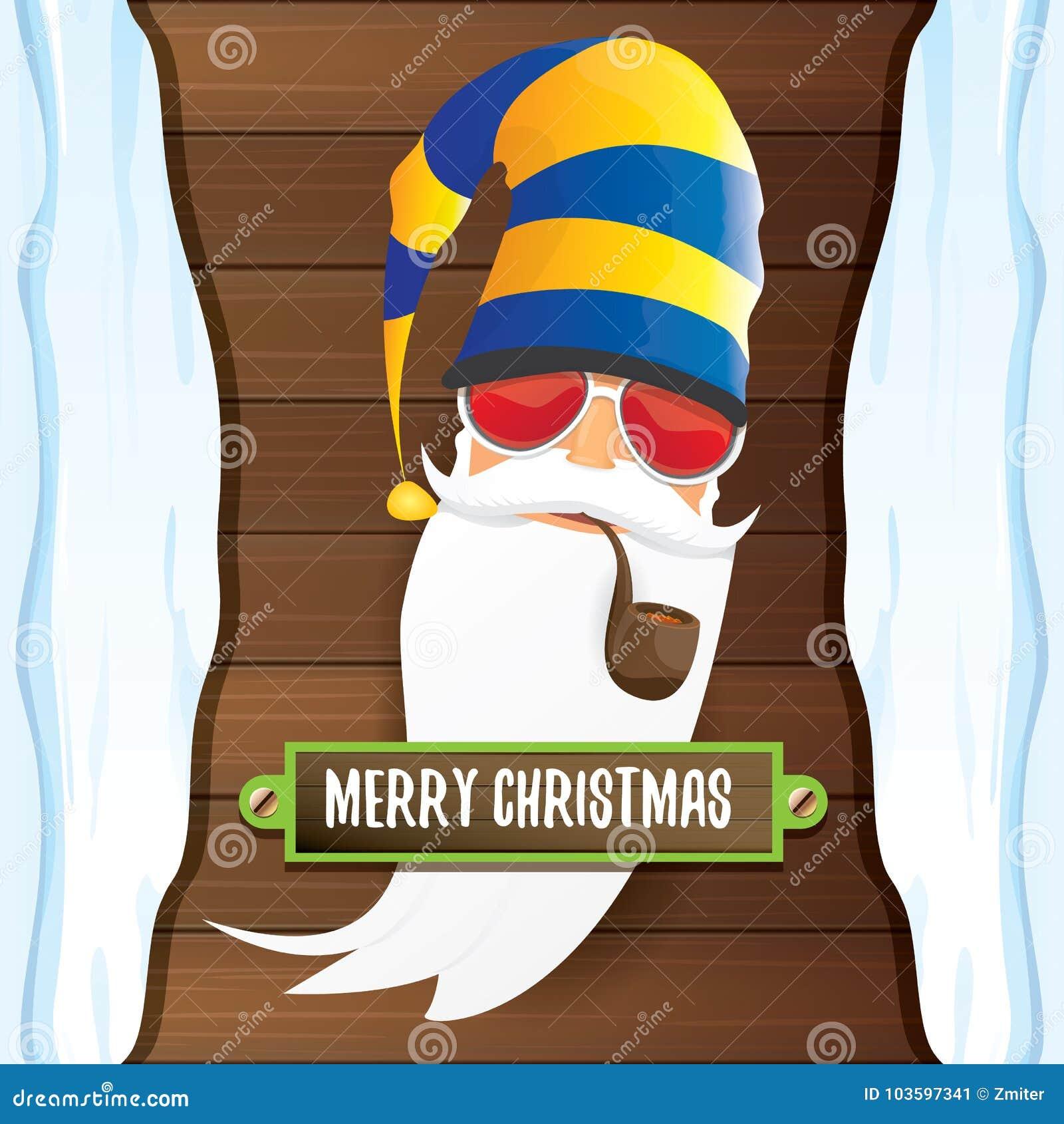 Vector Bad Rock N Roll Dj Santa Claus With Smoking Pipe