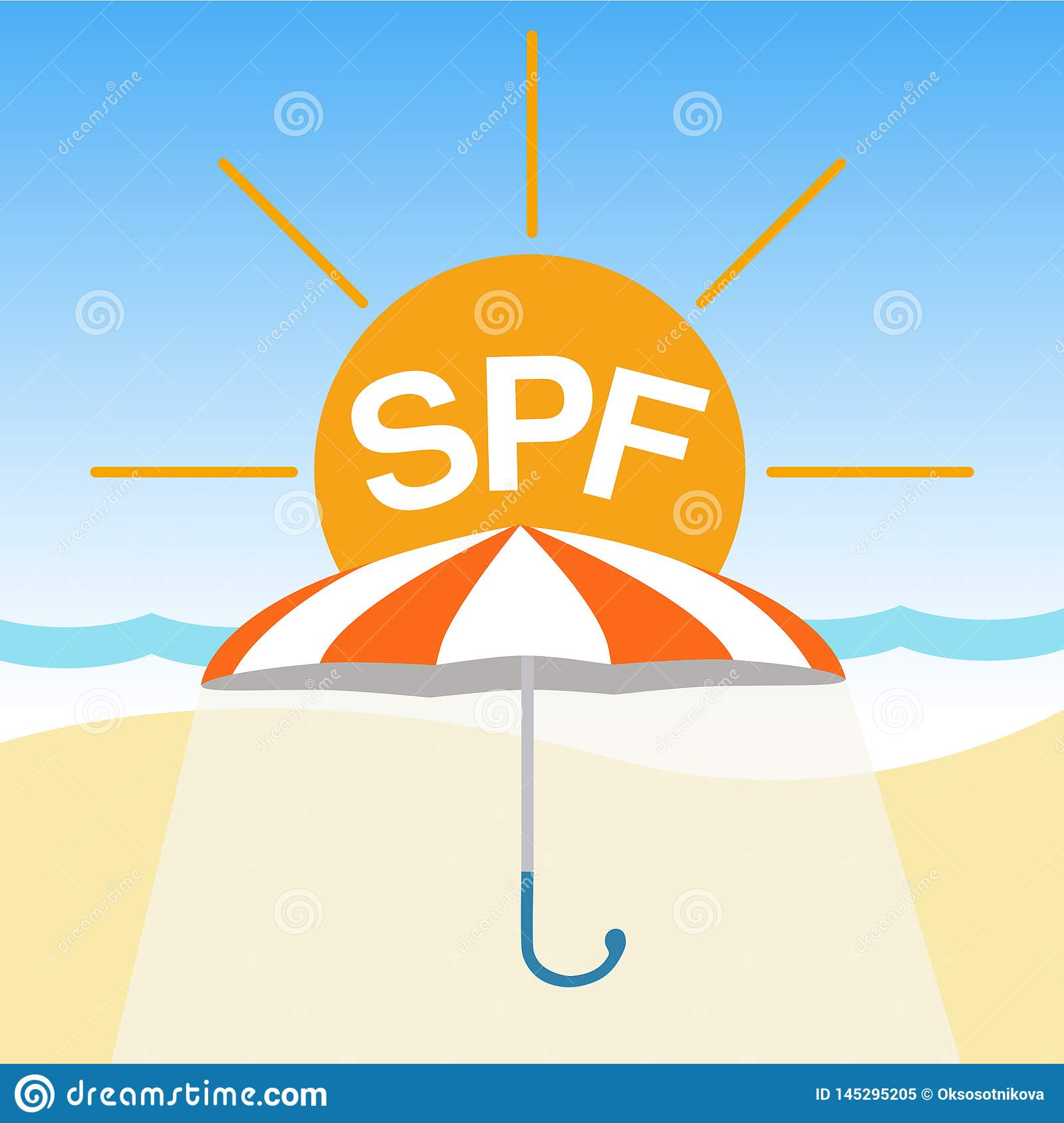 Vector badge, logo on protection from bright sunlight. Summer vacation, sunscreen, orange umbrella on the beach with the word SPF