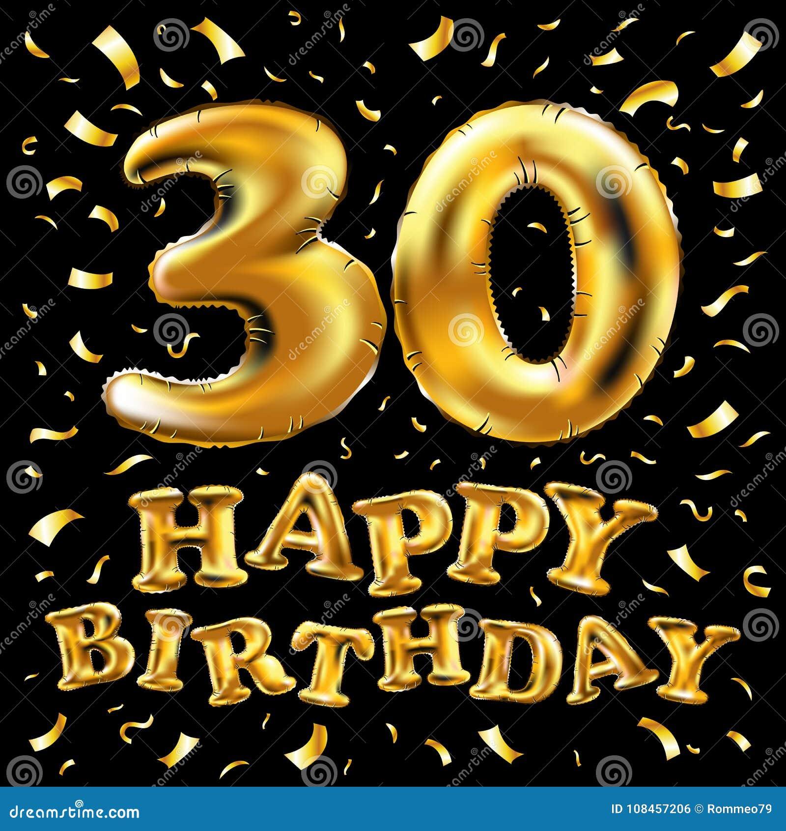 Vector balões do ouro da celebração do feliz aniversario 30rd e brilhos dourados dos confetes projeto da ilustração 3d para seu c