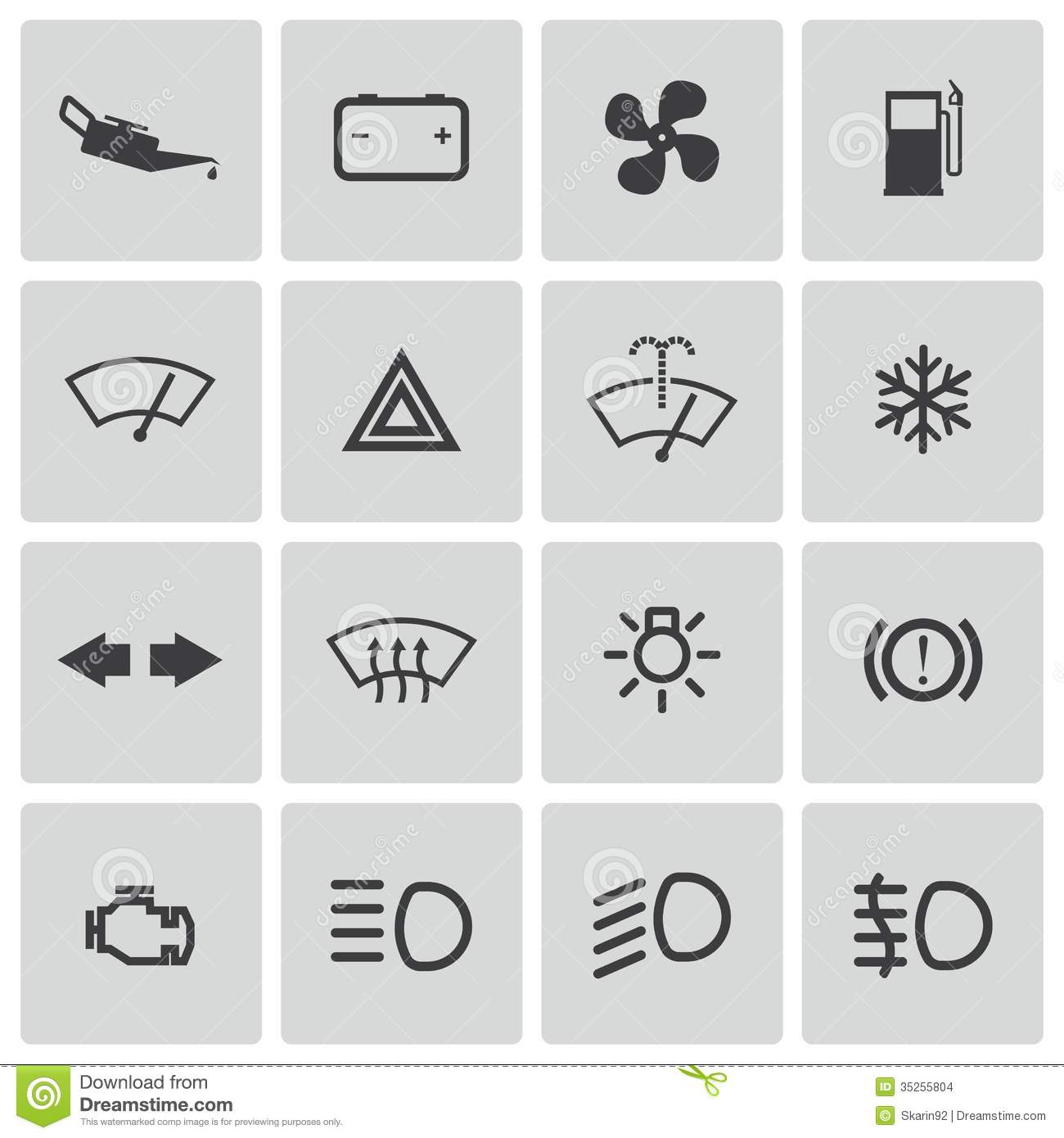 Car Service Icons Meaning