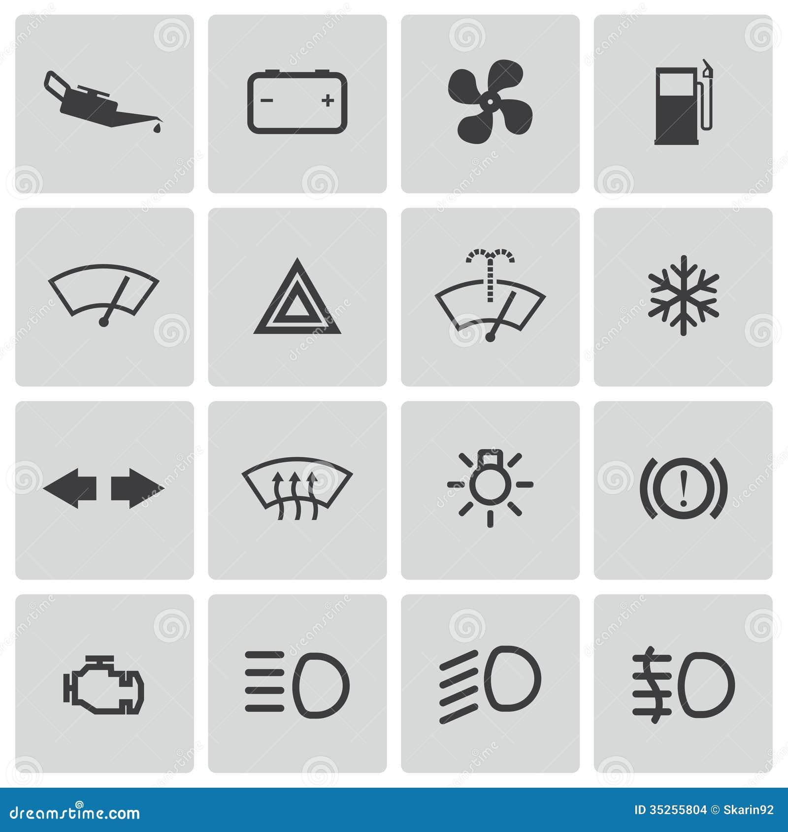 Vector balck car dashboard icons set stock vector illustration vector balck car dashboard icons set biocorpaavc Images