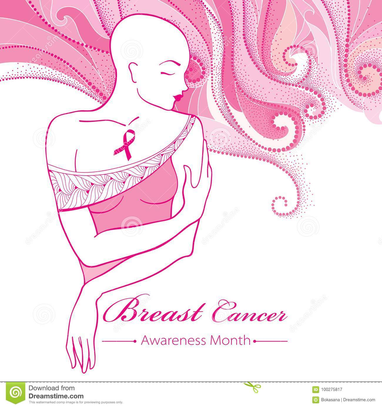 Vector bald woman after chemotherapy with pink ribbon on the vector bald woman after chemotherapy with pink ribbon on the background with dotted pink swirls breast cancer awareness month biocorpaavc Choice Image