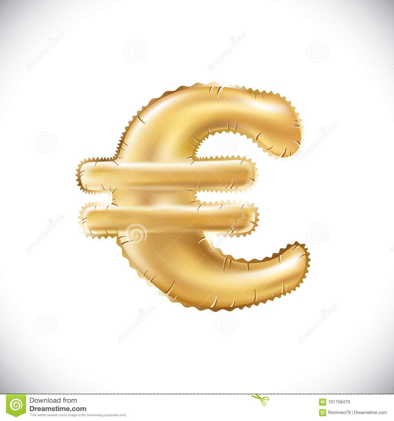 Vector Balloon Euro Currency Symbol Realistic 3d Isolated Gold