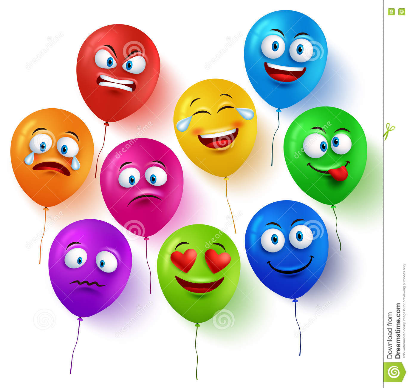 Funny balloon faces - Vector Balloon Faces Colorful Set With Funny Facial Expressions