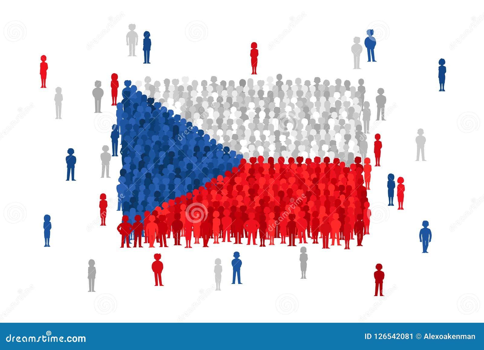 Vector a bandeira do estado de República Checa formada pela multidão de povos dos desenhos animados