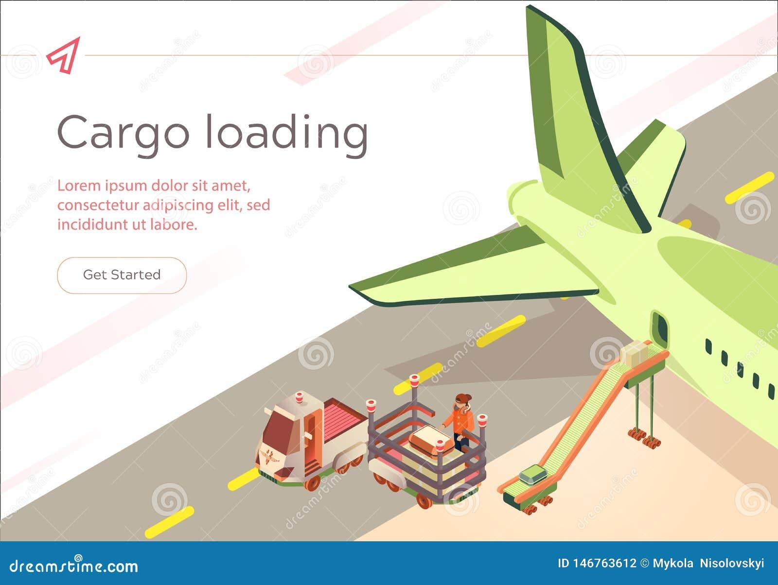 Vector Banner Cargo Loading Flight Preparation.