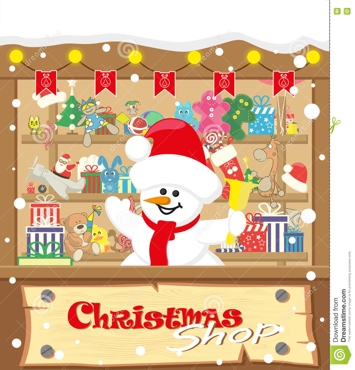 Vector Banner Christmas Shop Wih Snowman And Gifts, Toys