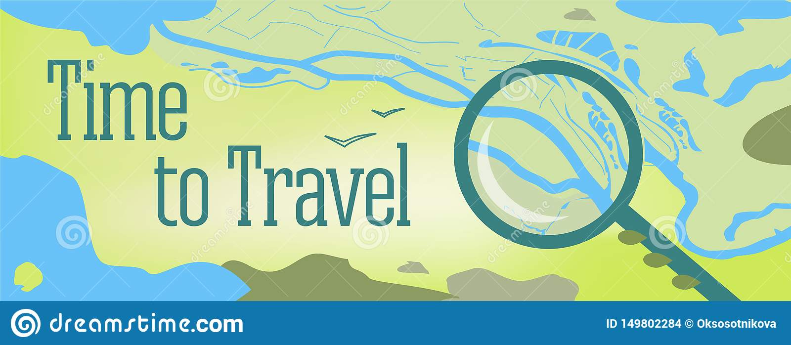Vector banner design with text Time to Travel. Illustration of a map of the world, with the sea, lakes, mountains
