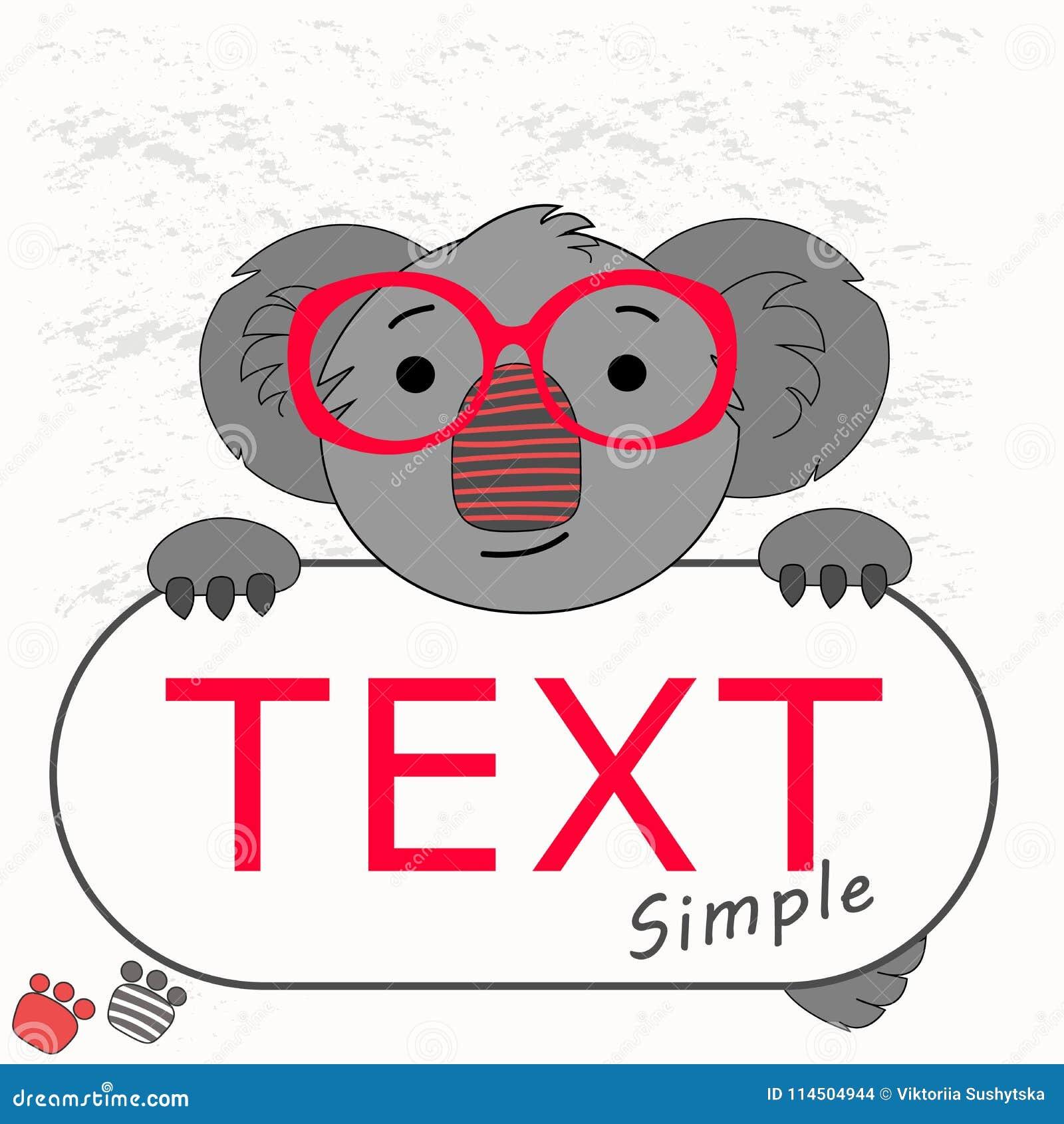 Vector Banner Frame For Text With A Koala Stock Vector