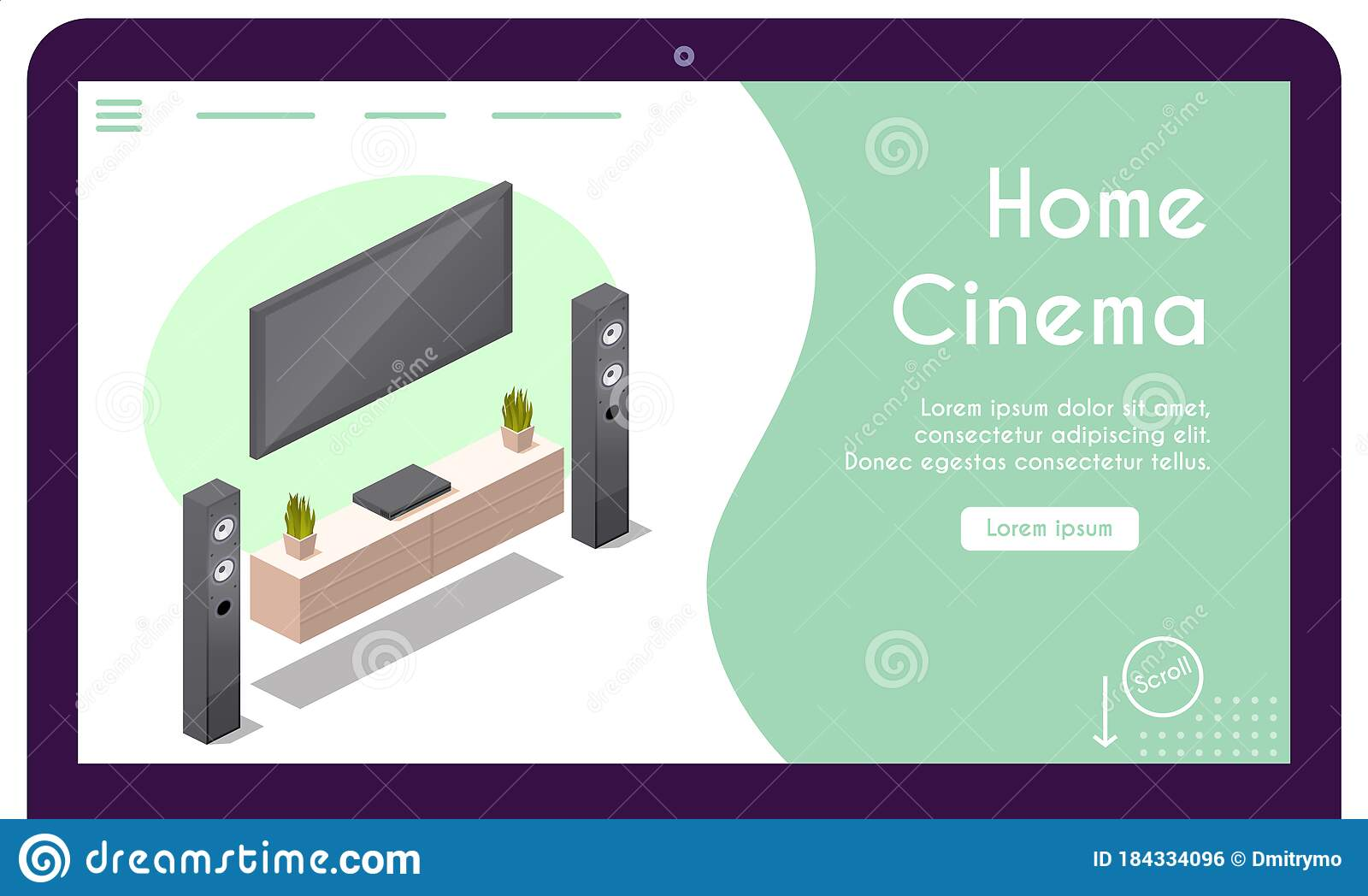 Vector Banner Of Home Cinema In Isometric View Stock Vector Illustration Of Modern Apartment 184334096