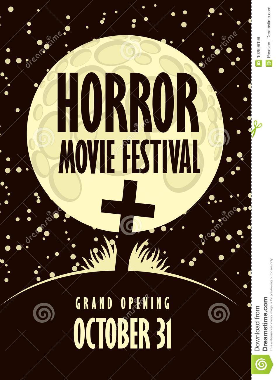 Banner For Horror Movie Festival, Scary Cinema Stock Vector