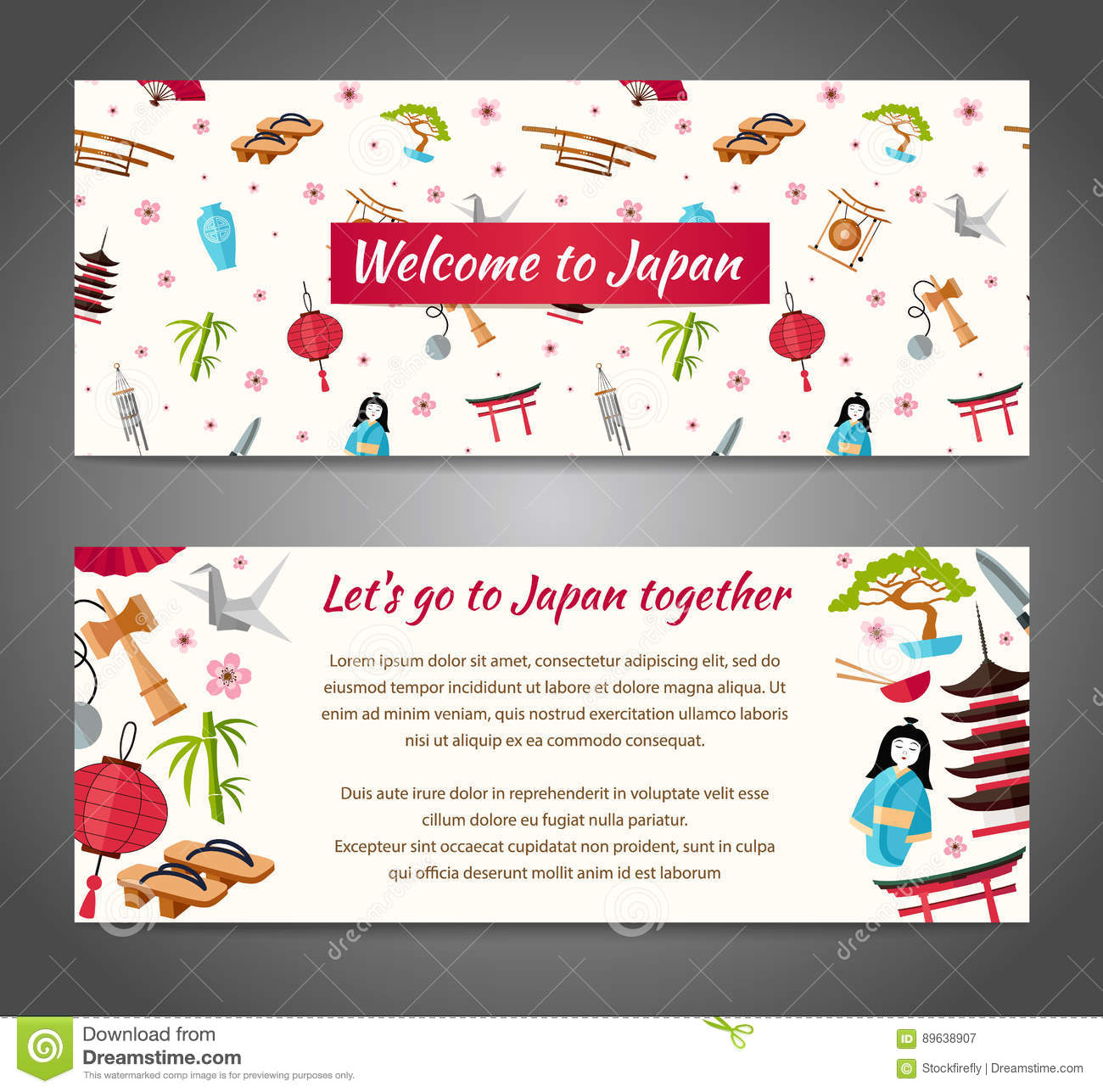 Vector Banner On A Japanese Theme The Pattern In Oriental Style