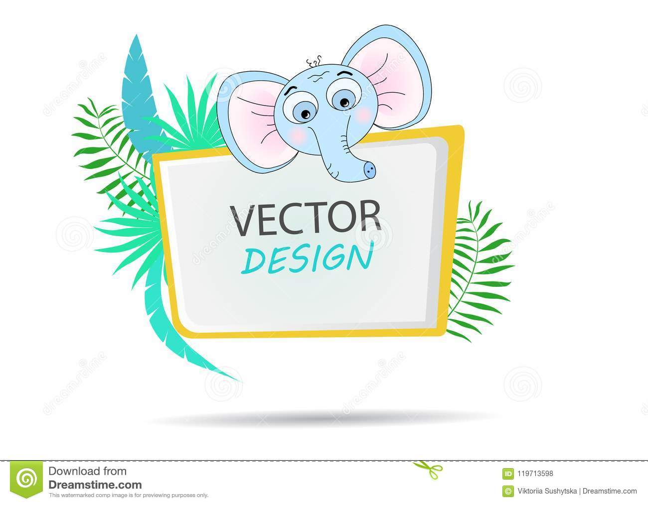 Vector Banner With Palm Leaves And A Cartoon Elephant. Frame For ...