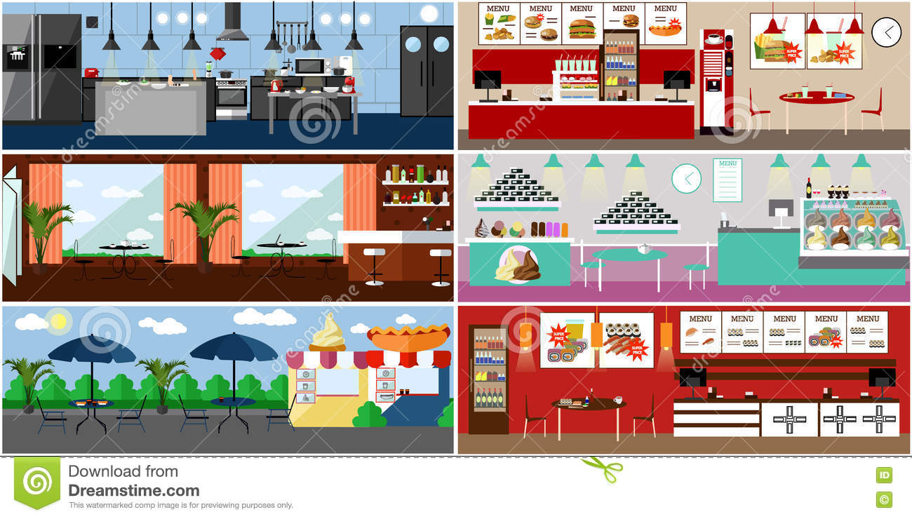 Restaurant Kitchen Illustration vector banner with restaurant interiors. kitchen, dining room