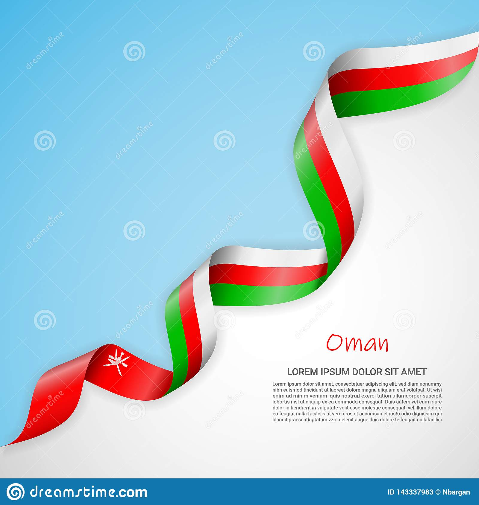 Vector banner in white and blue colors and waving ribbon with flag of Oman. Template for poster design, brochures