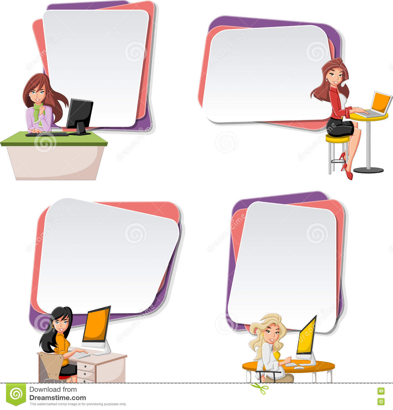 Vector Banners / Backgrounds With Cartoon Business Women ...