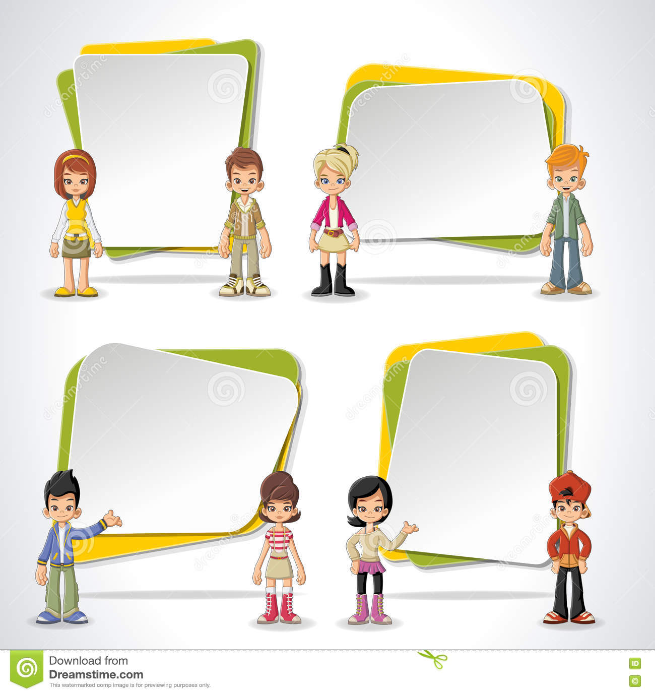 Vector Banners / Backgrounds With Cartoon Children. Stock ...