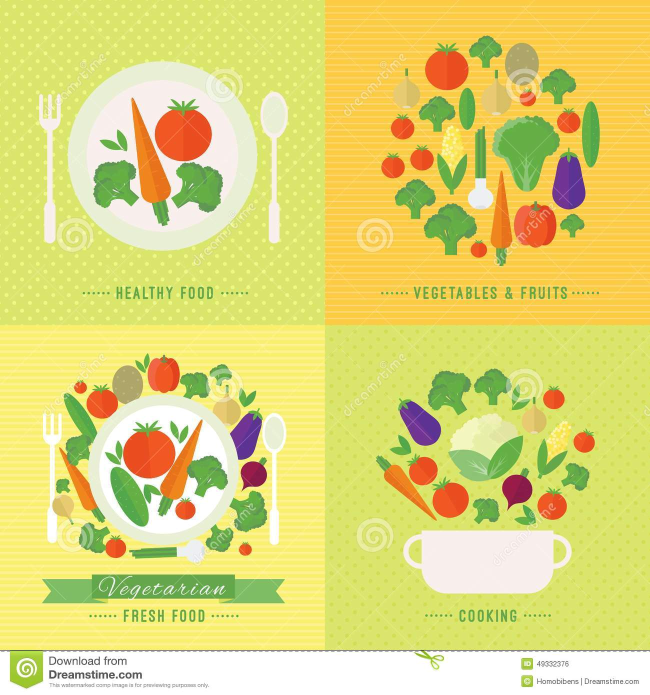 Vector Banners, Card With Fresh Fruits And Vegetables ...