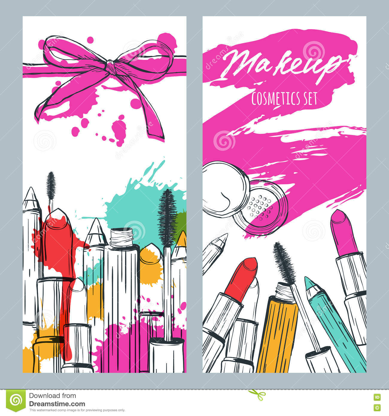 Vector Banners With Doodle Illustration Of Makeup Cosmetics And Lipstick Smears Beauty And Makeup Background Stock Vector Illustration Of Fashion Banners 74058829
