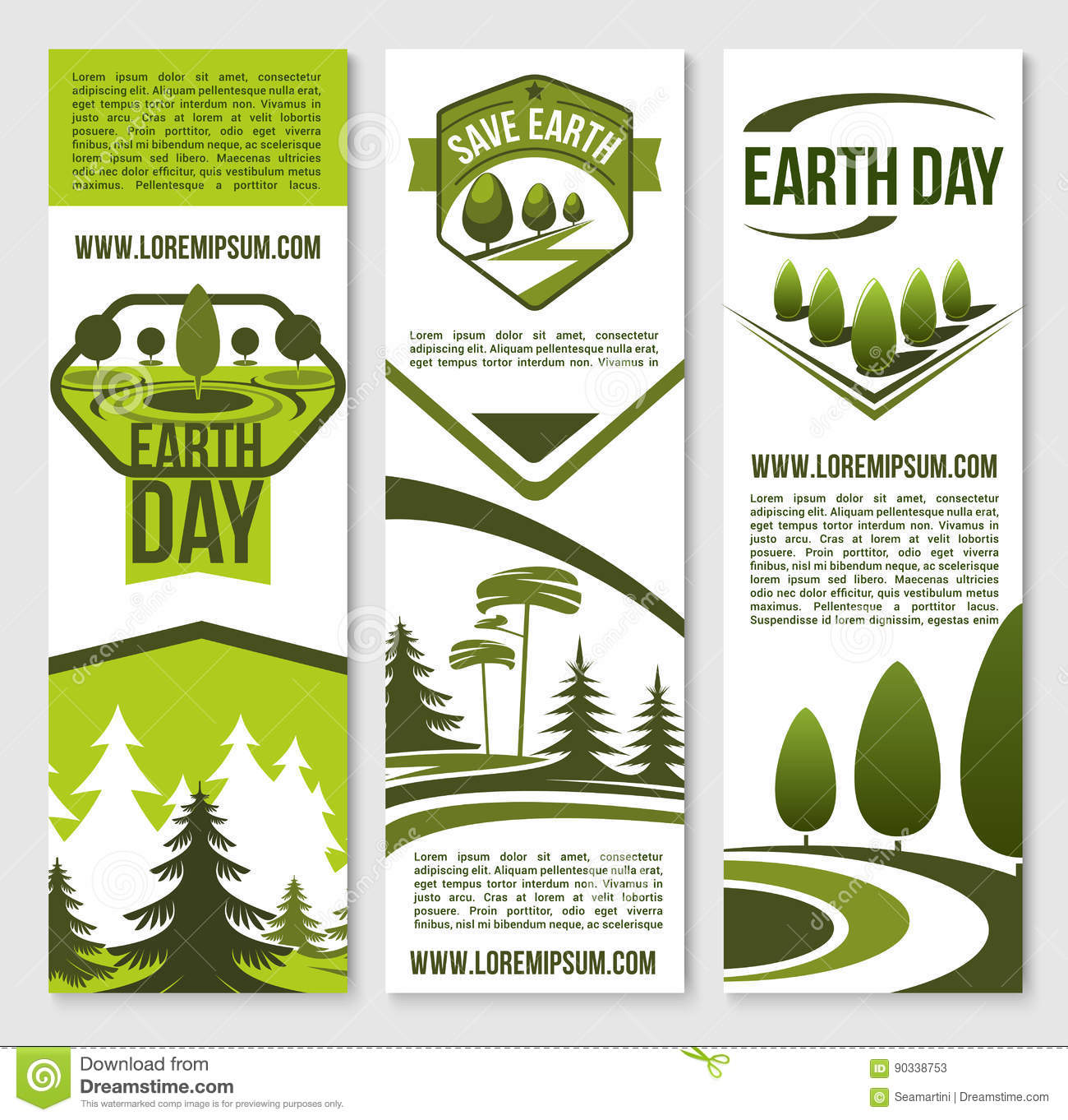 Vector Banners For Earth Day Ecology Concept Stock Vector