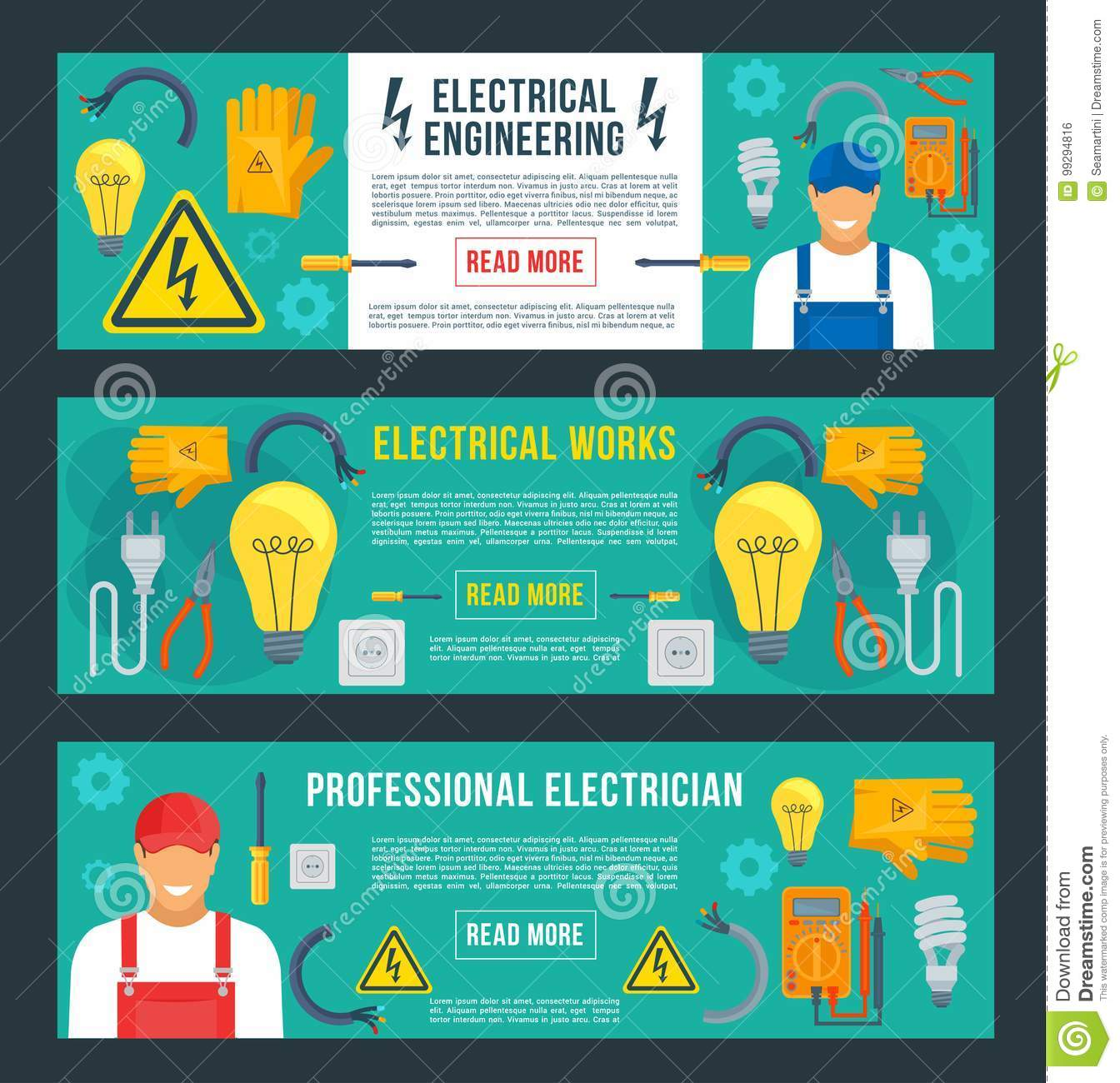 vector banners for electrical engineering stock vector
