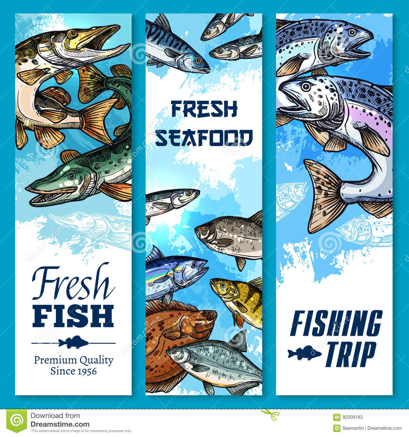 Vector banners of fishing trip and fish catch stock vector for Big 5 fishing license