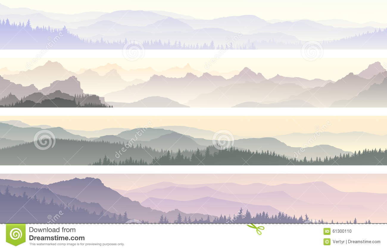 vector banners of misty forest hills stock vector illustration of