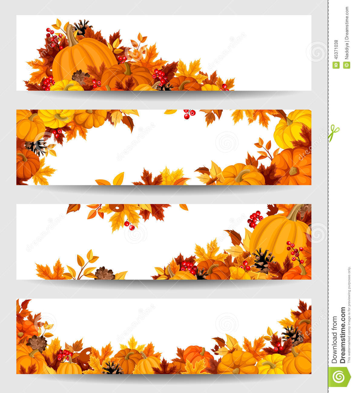 Vector Banners With Orange Pumpkins And Autumn Leaves ...