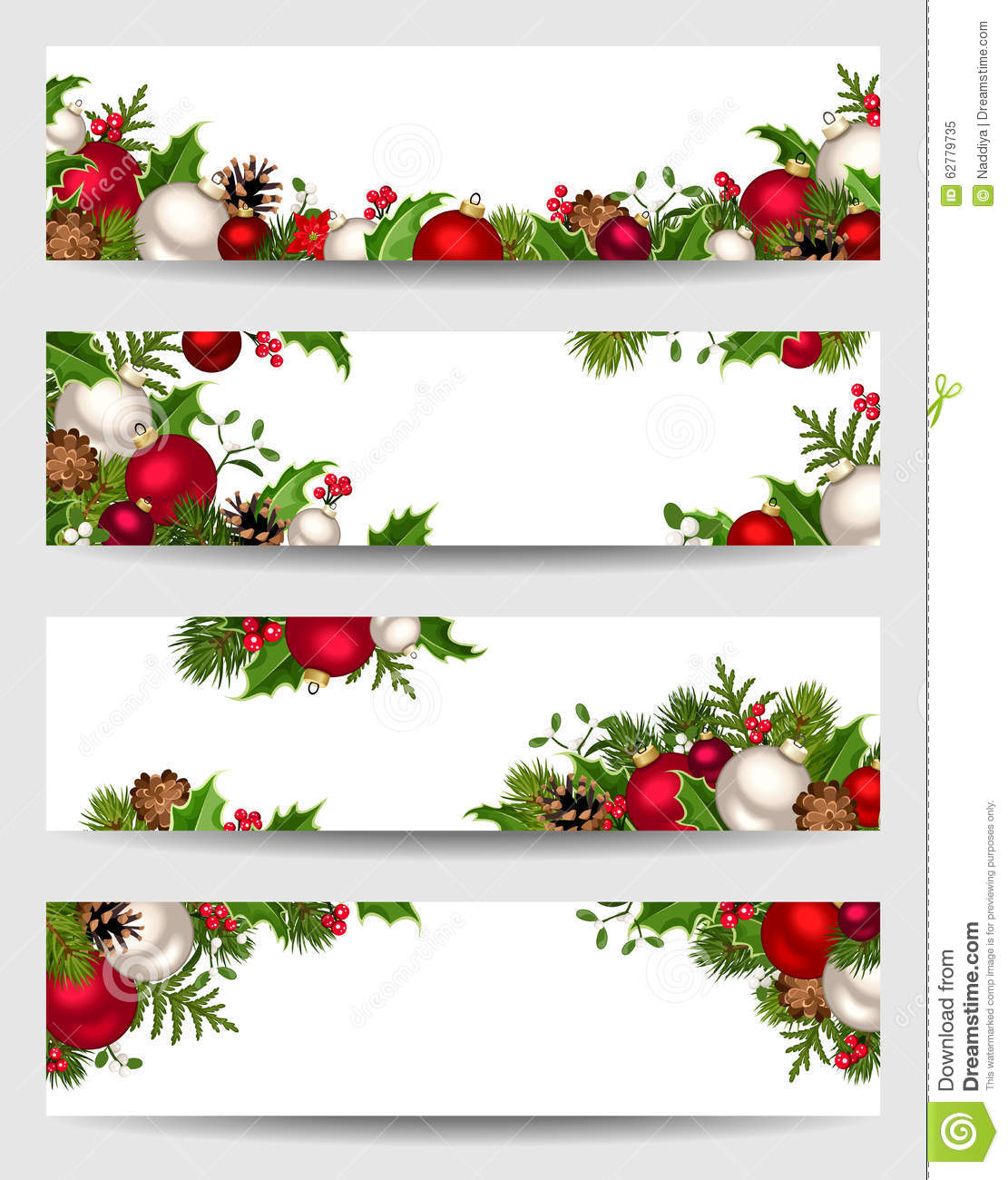 Vector banners with red white and green christmas for Red white green christmas decor