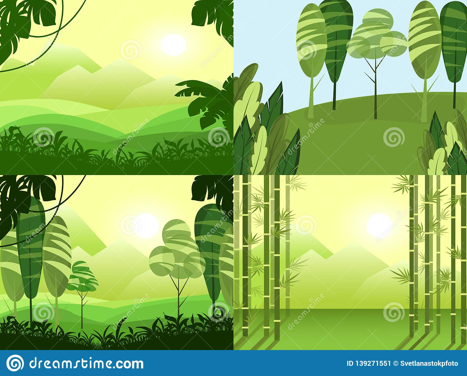 Vector banners set with cartoon green polygonal landscape. Travel rest sky mountains trees hills. Background