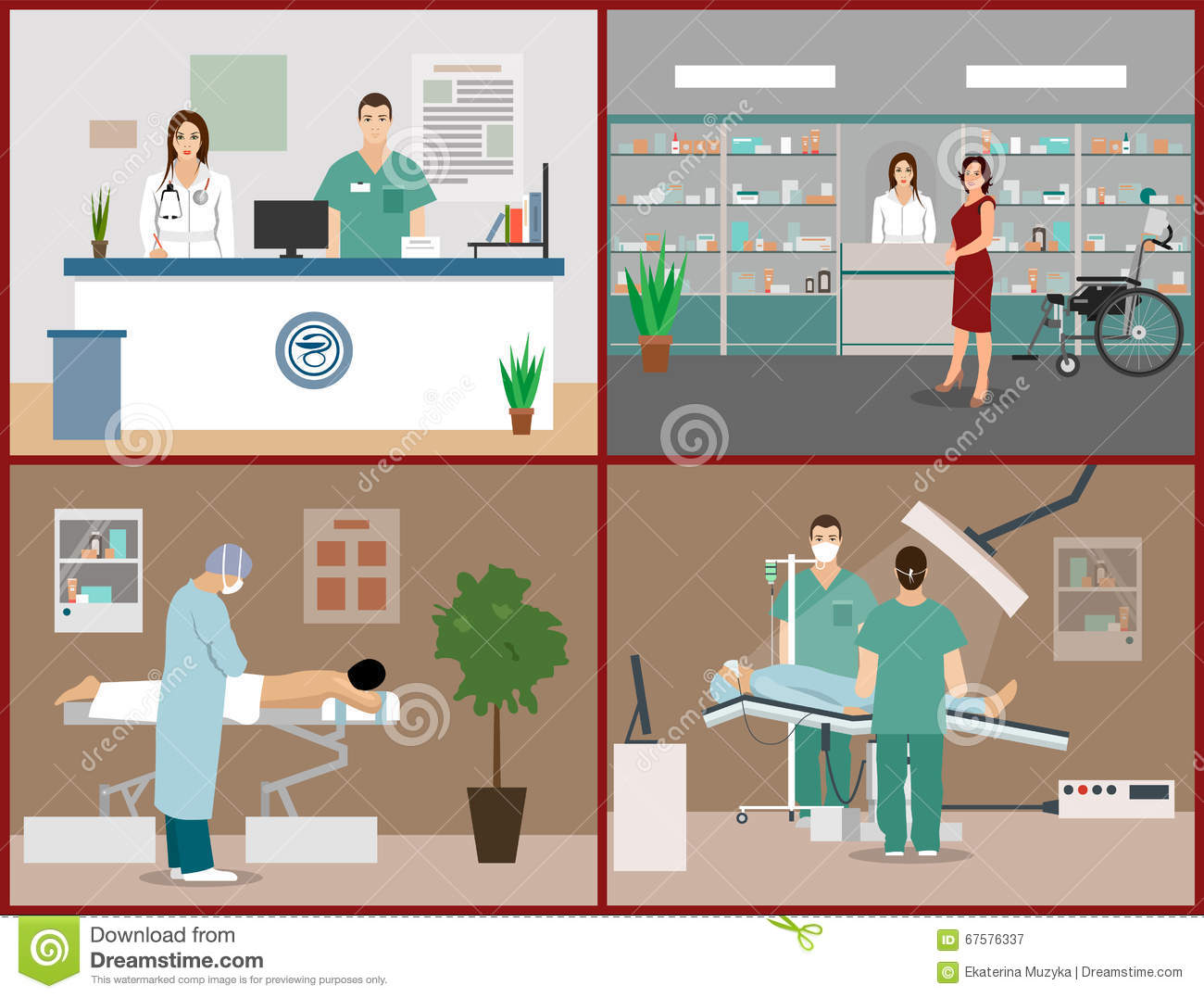 Vector Banners Set With Patients Doctors And Hospital