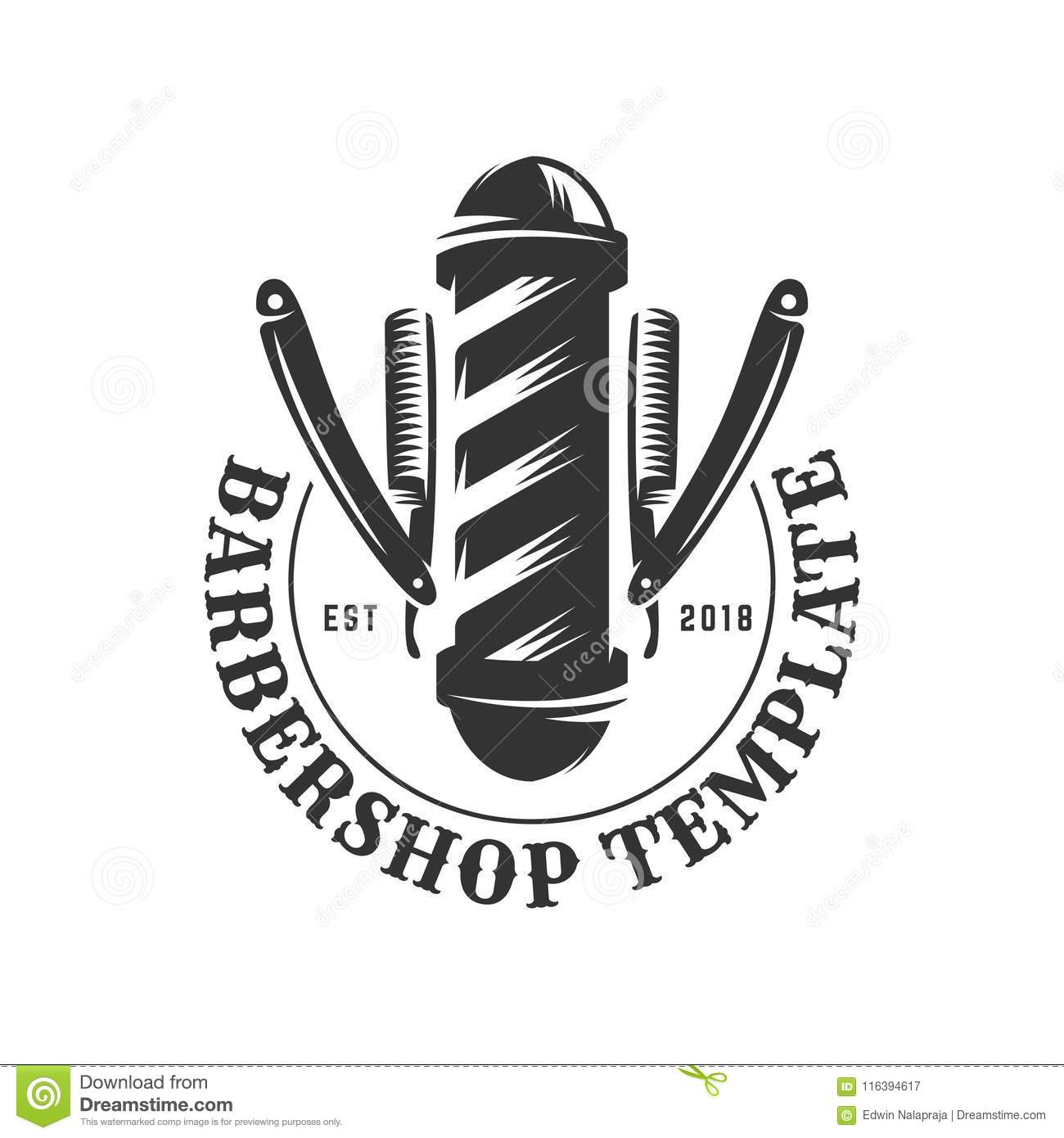 Barbershop Vintage Logo Template On Isolated White