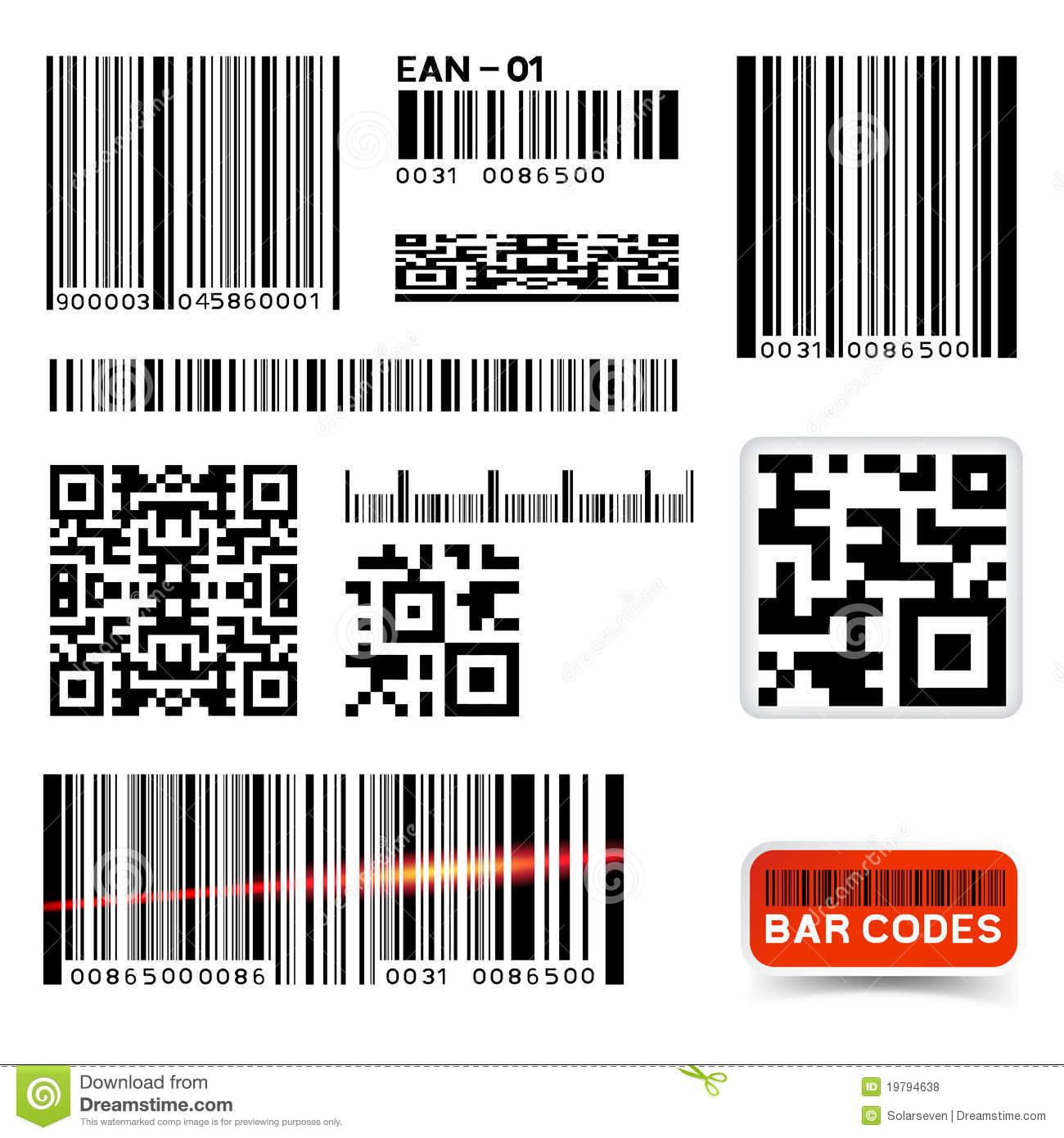 Vector barcode label collection stock image