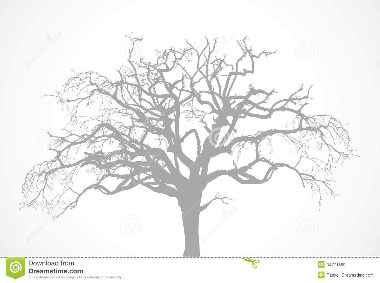 vector bare old dry dead tree silhouette without l royalty free