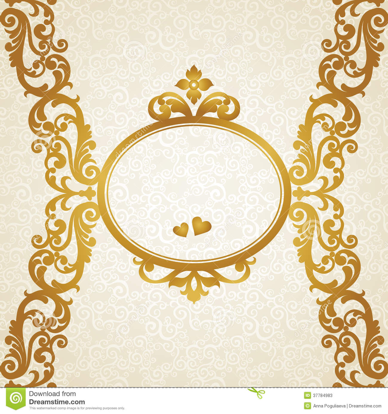 Frame design for wedding invitation vector border in victorian style - Vector Baroque Endless Border In Victorian Style Stock