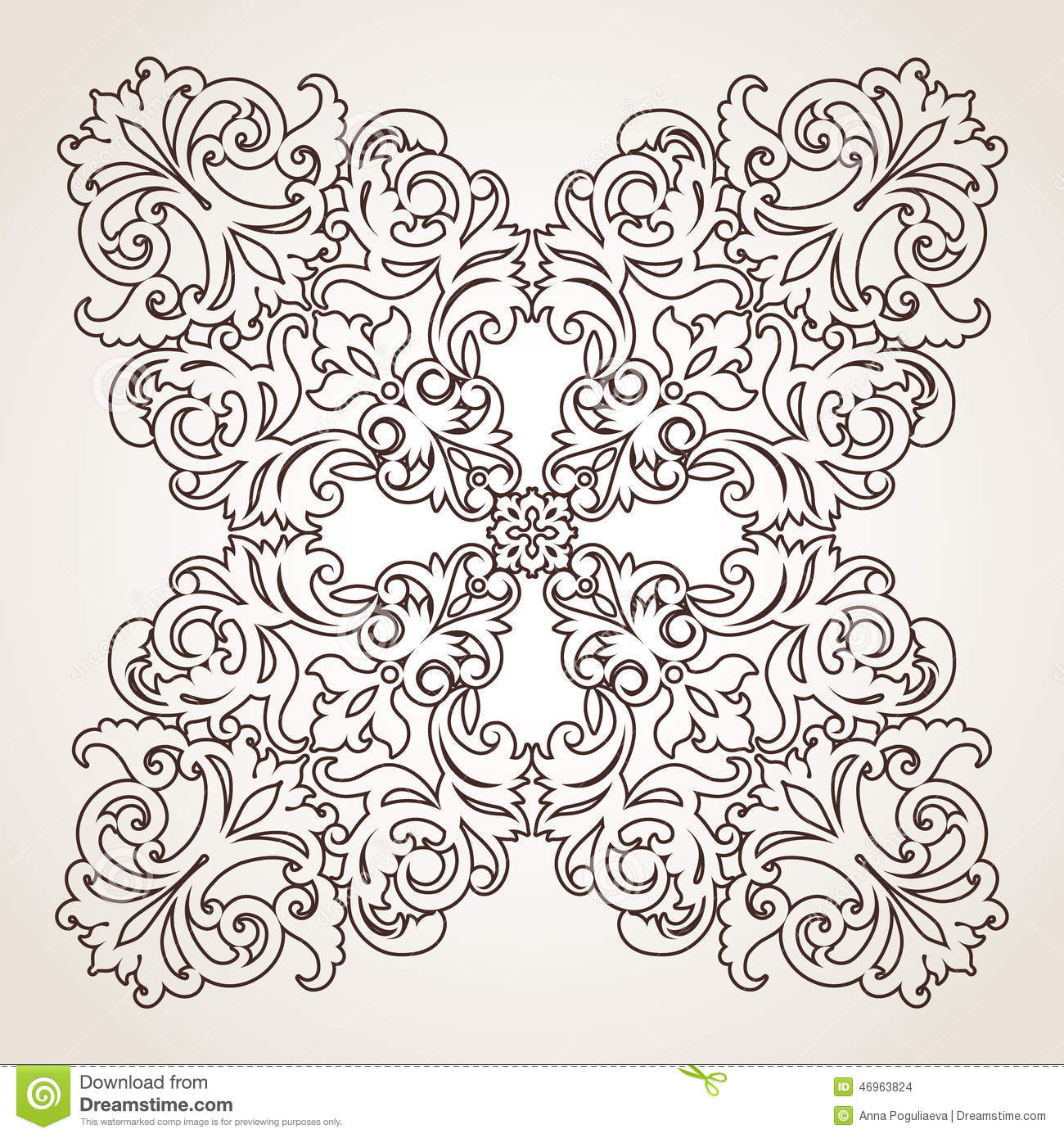 Vector baroque ornament in victorian style stock vector for Decor outline
