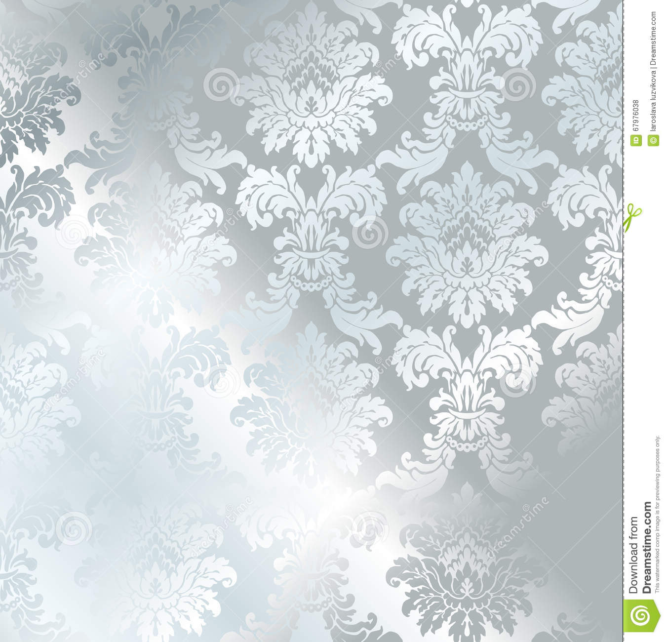 Vector Baroque Seamless Damask Silver Texture Stock Vector