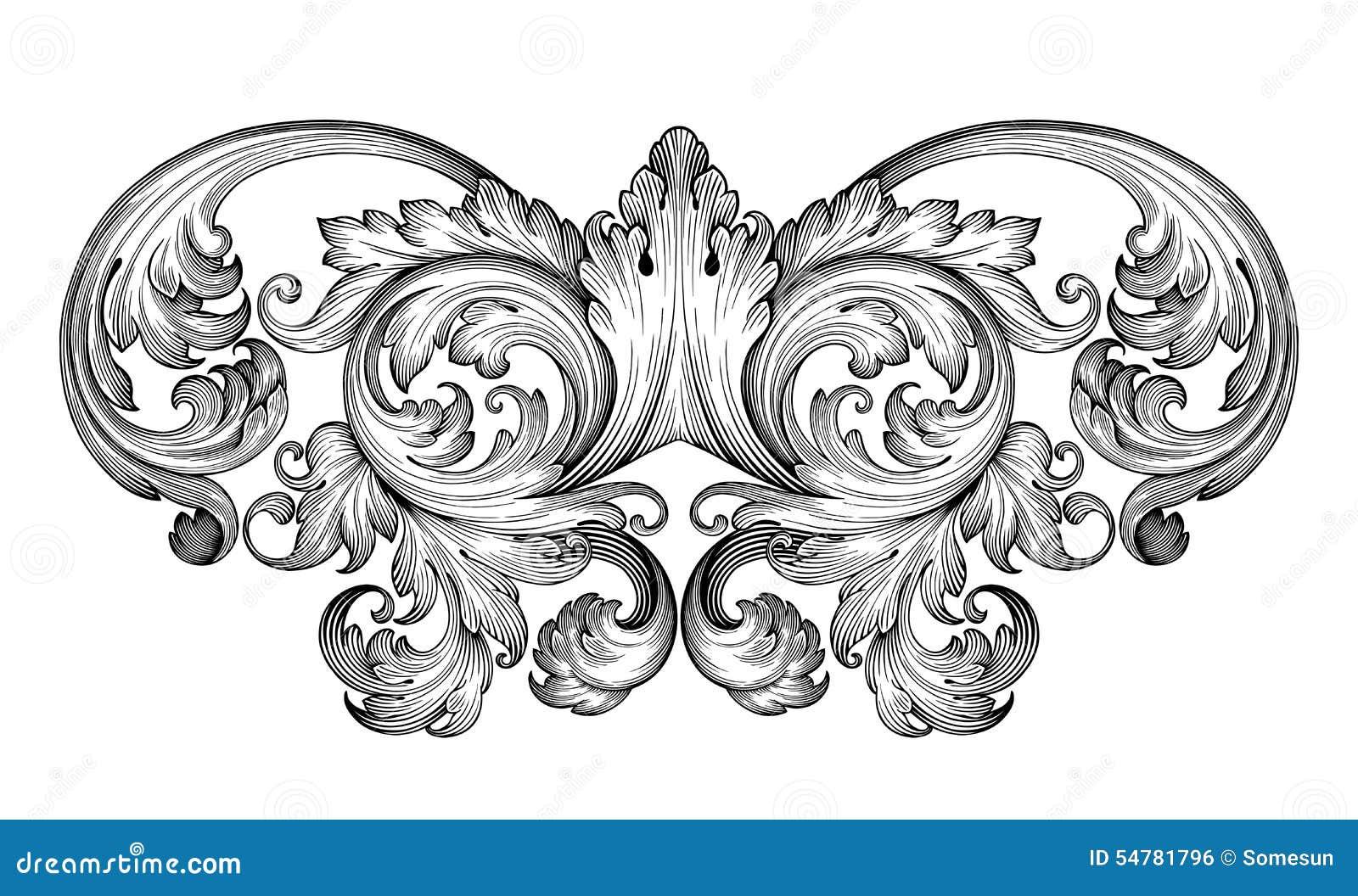 Vector barroco del ornamento de la voluta del marco del vintage