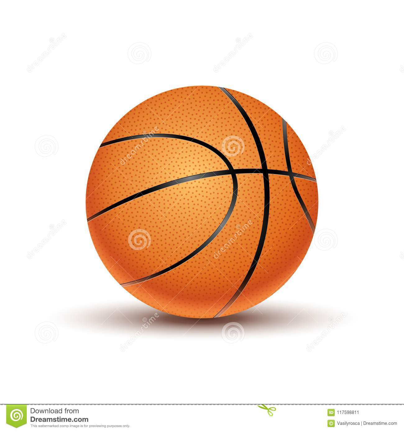 Vector Basketball ball isolated on a white background. Orange basketball play symbol. Sport icon activity