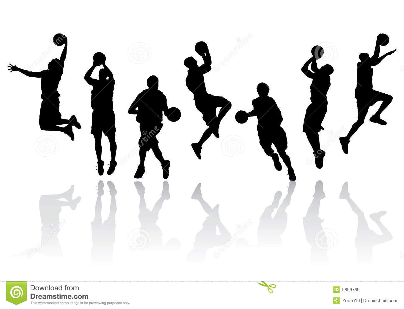 Vector Basketball Player Silhouettes Royalty Free Stock ...