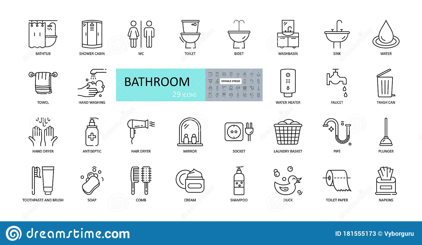 Vector Bathroom Icons Editable Stroke Shower Bath Toilet Bidet Mirror Water Tap Laundry And Garbage Basket Cosmetics Stock Vector Illustration Of Heater Illustration 181555173