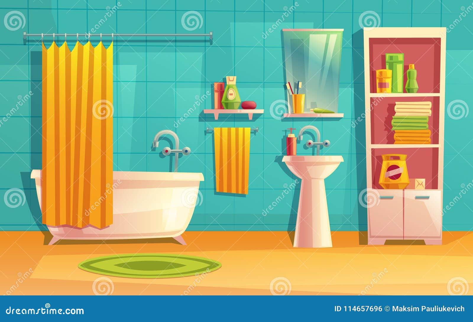 Vector Bathroom Interior, Room With Furniture, Bathtub Stock Vector ...