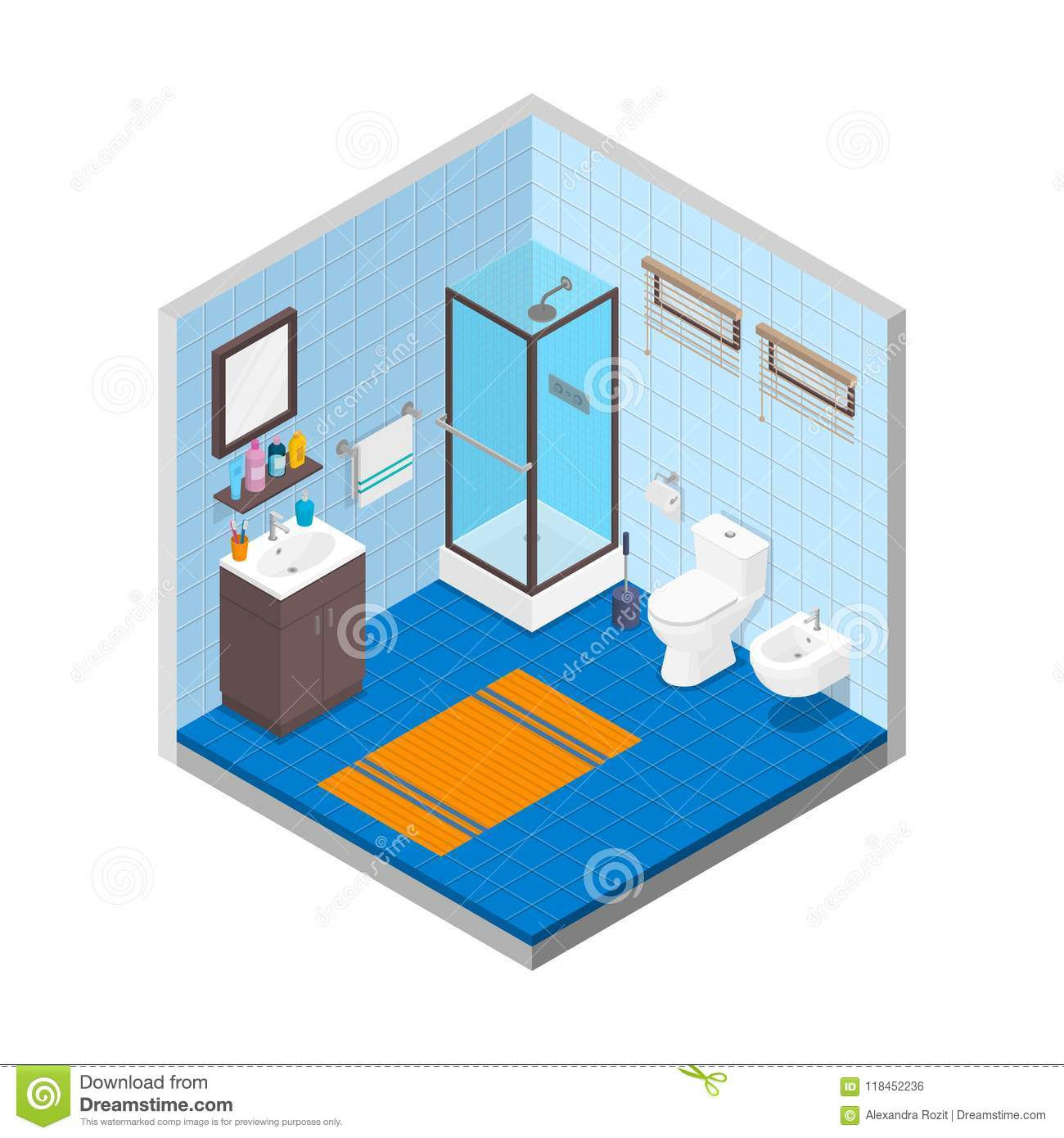 vector bathroom isometric design interior template room with tiles