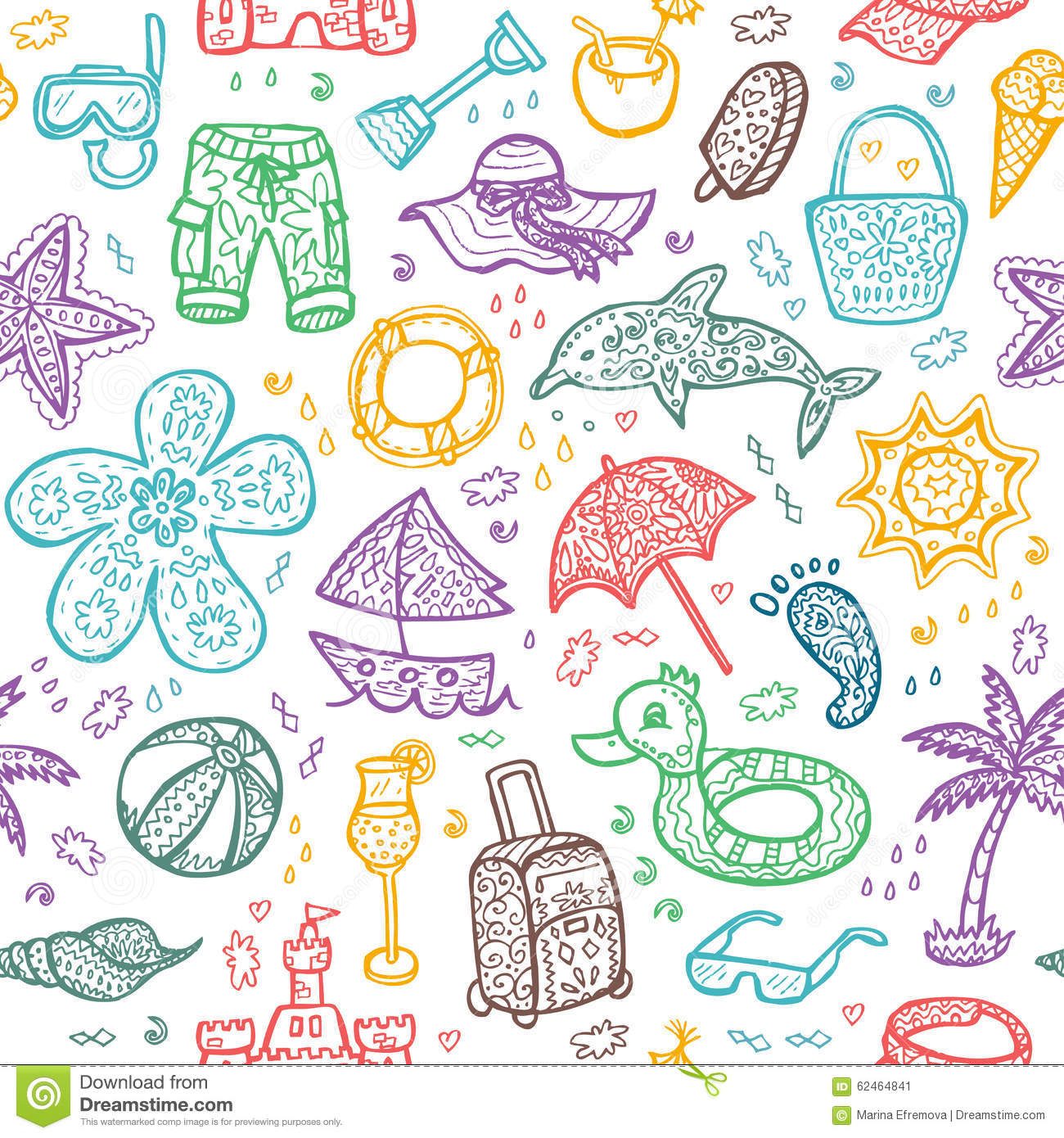Vector Beach Pattern For Summer Stock Vector Image 62464841