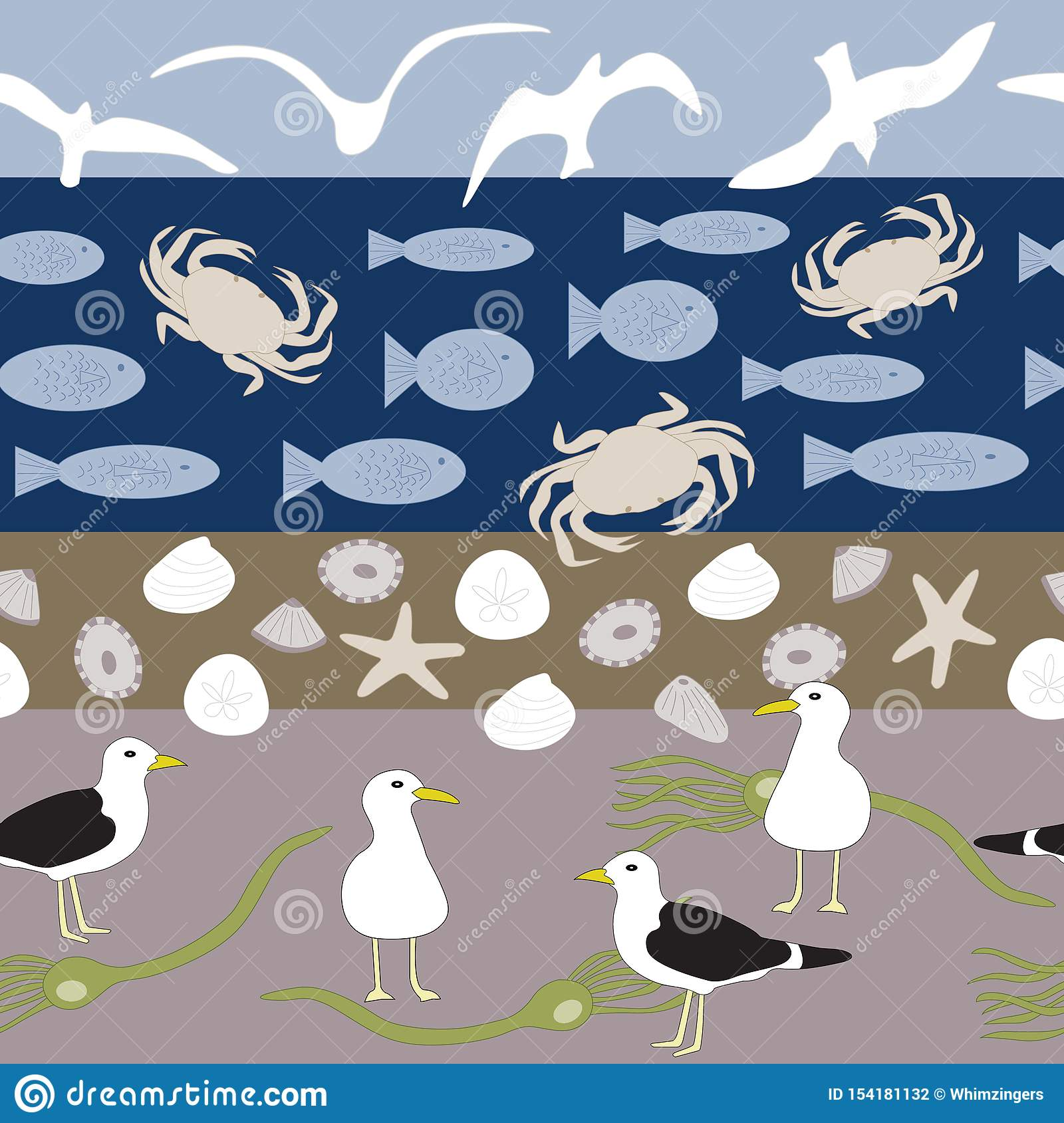 Vector Beach Scene with Birds, Shells, Fish, Crabs and Seaweed Seamless Repeat Pattern