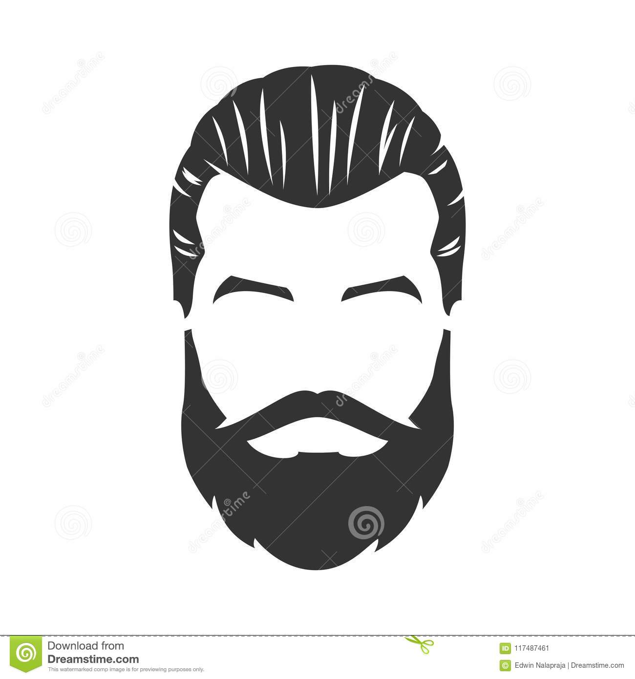 Vector Of Bearded Man Face With Mustache Pompadour Stock Vector