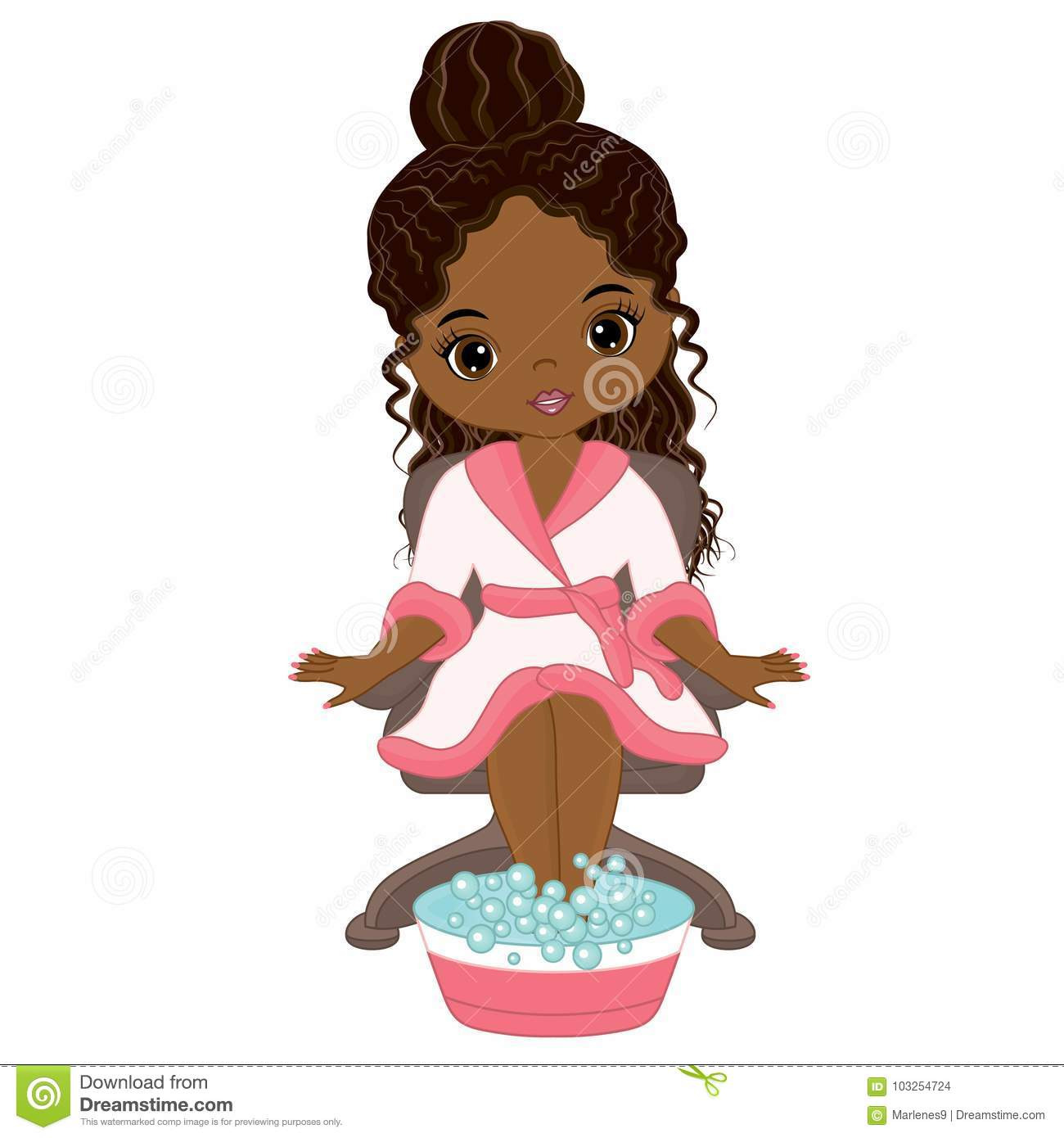 Vector Beautiful African American Girl Taking Spa Treatment