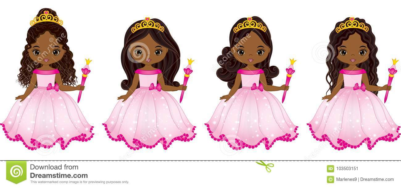 Vector Beautiful African American Princesses with Various Hairstyles