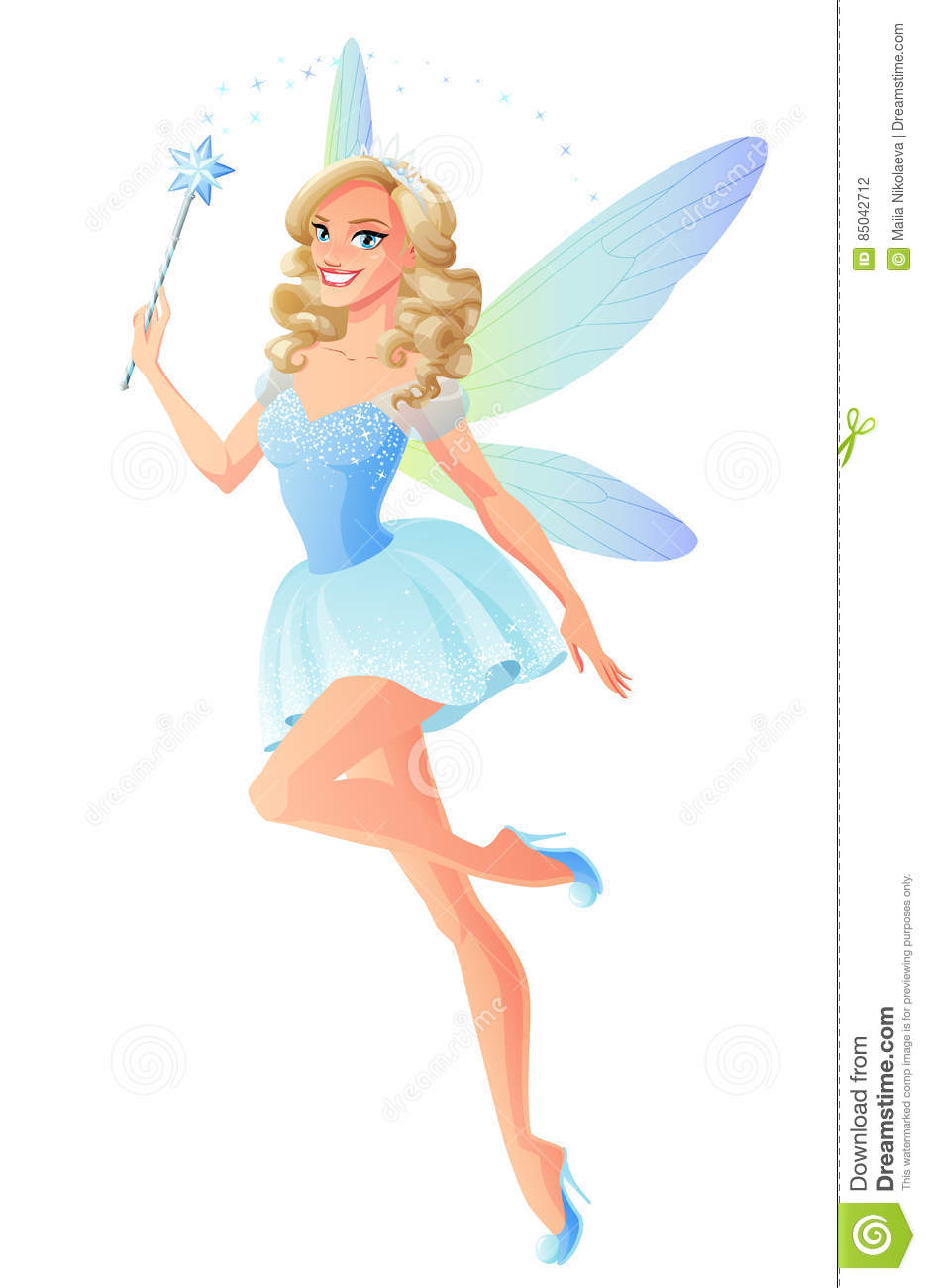 Download Vector Beautiful Blue Fairy With Magic Wand And Dragonfly Wings. Stock Vector - Illustration  sc 1 st  Dreamstime.com & Vector Beautiful Blue Fairy With Magic Wand And Dragonfly Wings ...