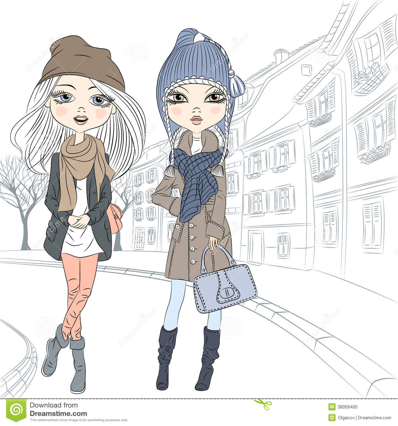 Vector Beautiful Fashion Girl In Old Town Stock Vector Image 38069400